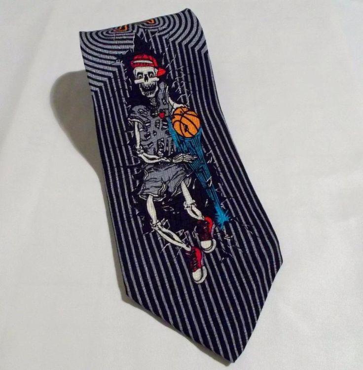 Skullman for MBP Tie Skeleton Basketball Player Necktie Silk Made in USA #SkullmanforMBP #NeckTie