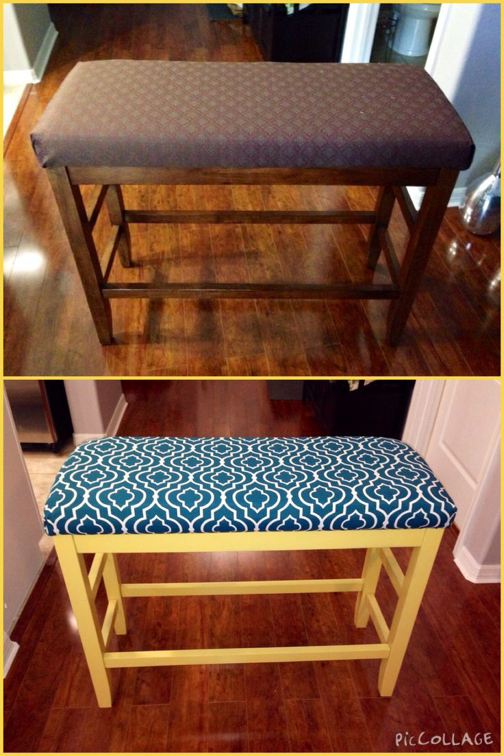 Refinished bench with paint and fabric