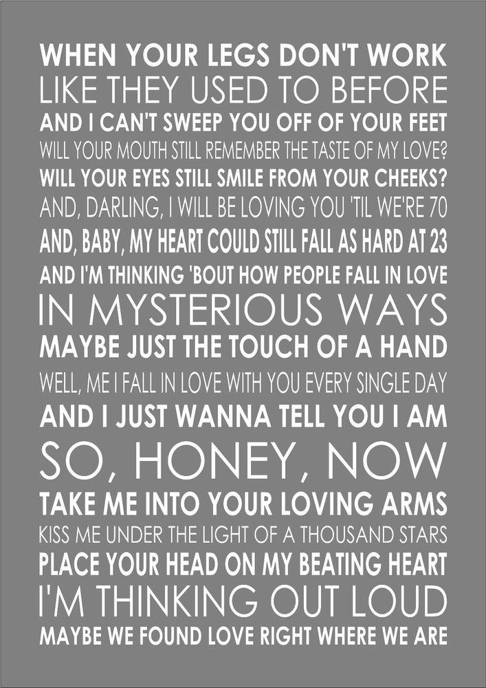 THINKING OUT LOUD WHEN ED SHEERAN Typography Words Song Lyric Lyrics Music Wall