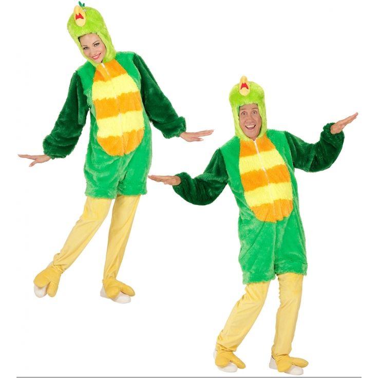 Pluche groene vogel kostuum voor volwassenen. Luxe verkleedkostuum van een groene vogel. Het pak is 1 geheel en is inclusief capuchon. Materiaal: 100% polyester.