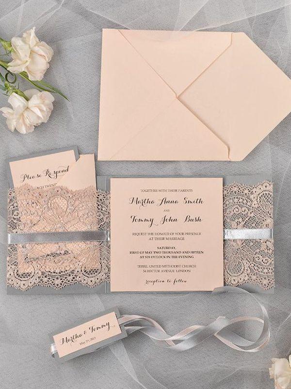 bed bath and beyond wedding invitation kits%0A Lace Wedding Invitations