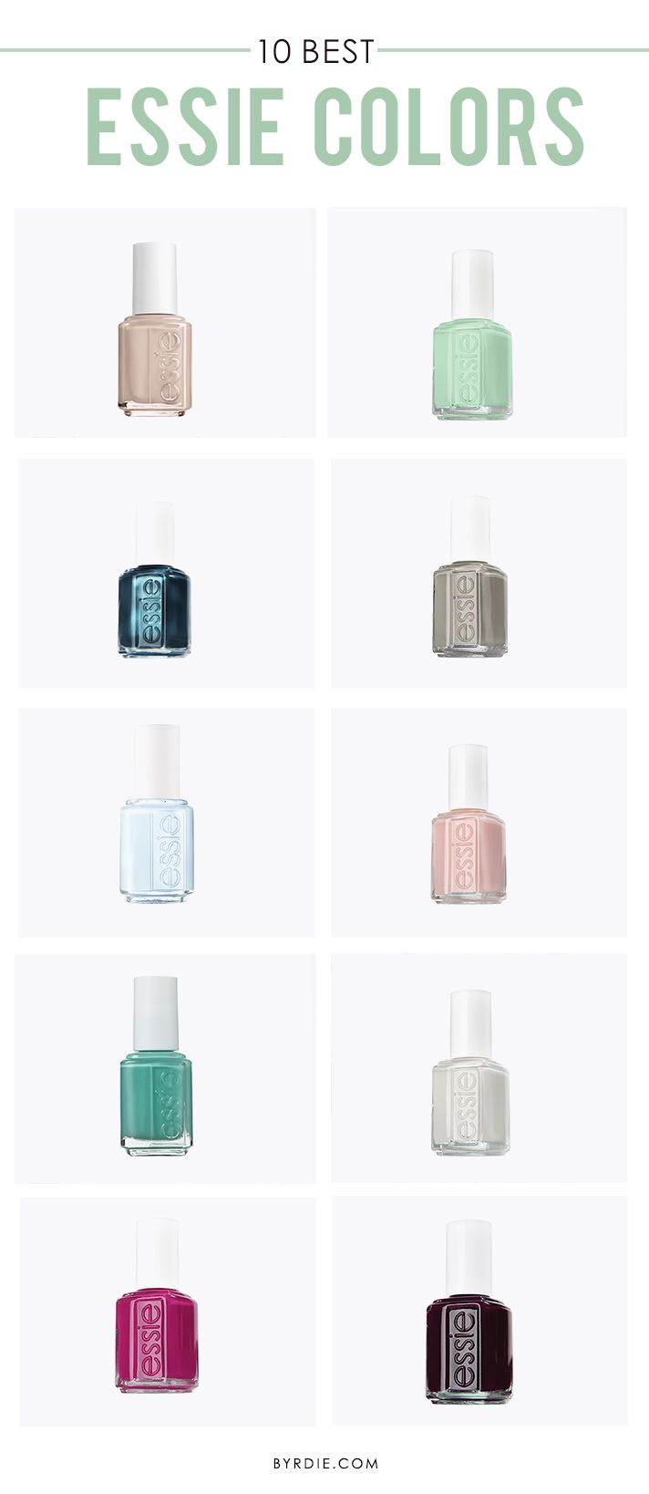 A roundup of the 10 best Essie colors of all time // #nailpolish #manicure