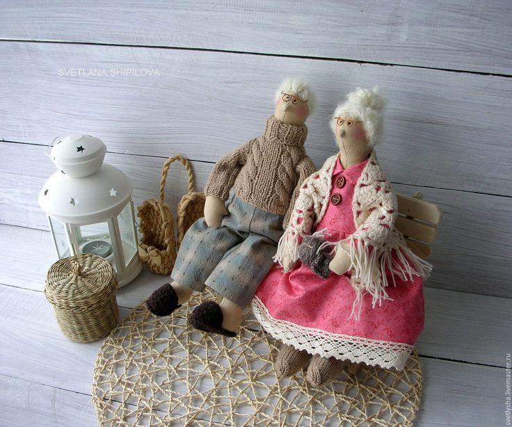 Купить Семья Сплюшкиных,дедушка и бабушка - бежевый, тильда, пара, дедушка, бабушка, сплюшка