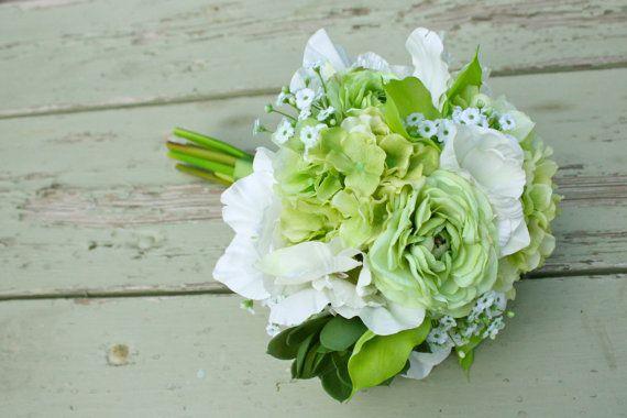 Green Real Touch Bouquet (Ranunculus, Calla Lilies, Succulents, Hydrangea, Gladiolas), Summer Wedding, Spring Wedding $148 ETSY