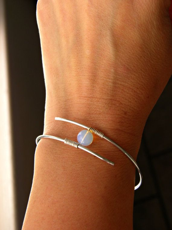 Opalite Bangle Bracelet. Minimalist  Modern. by PeggysPassions, $14.00