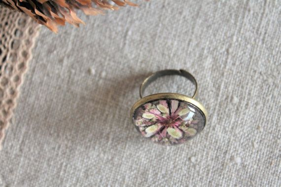 Unique pressed flower terrarium ring herbarium jewelry by Miodunka