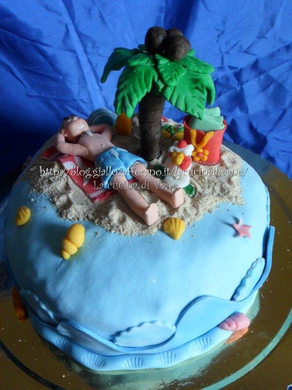 Torta spiaggia in pasta di zucchero