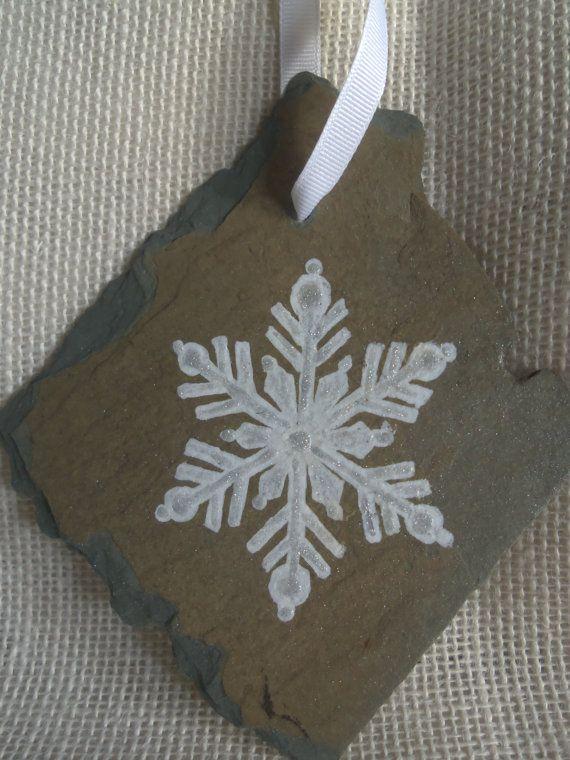 Vintage Slate OOAK Handpainted Snowflake by SlatedInSpirit on Etsy