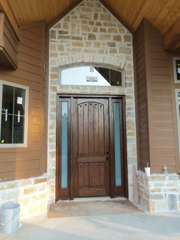Dark Brown Mahogany Door With Two Side Lites That Add A