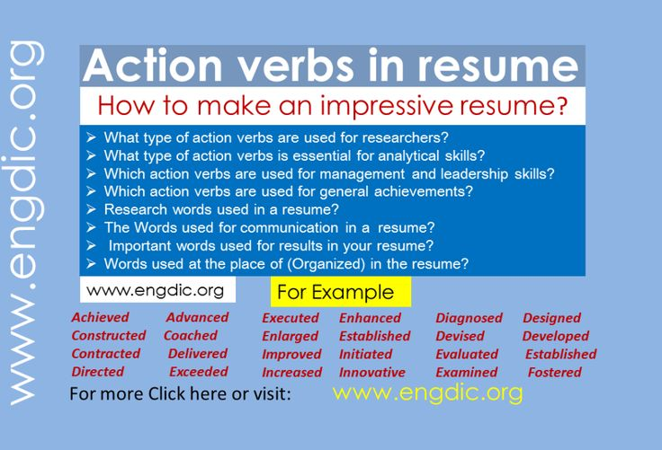 Action verbs in resume What makes your resume impressive