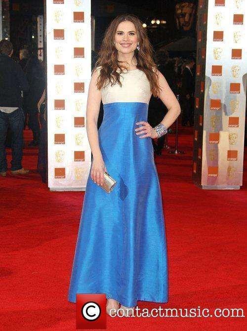 Hayley Atwell in Satin Midi Dress