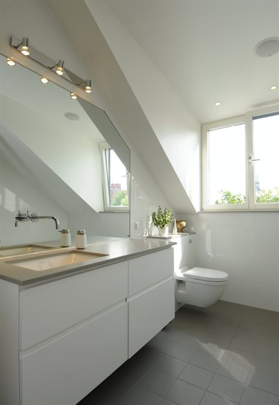 Like sink bench top, like tiles, like vanity, like floating toilet Bathroom Pinterest