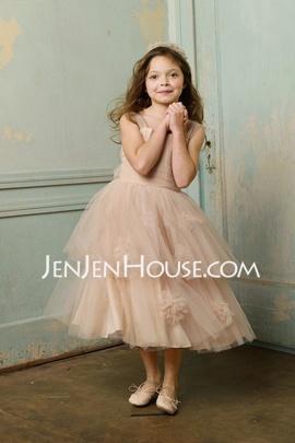 Corte A/Princesa Sin tirantes Longitud de té Satén Tul Vestidos para niña de arras con Volantes (010005893) - JenJenHouse.com