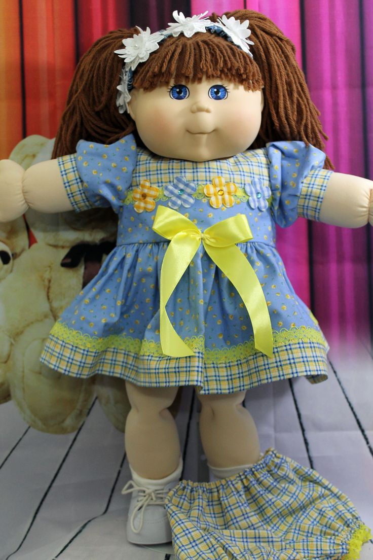 Fits a 14 inch Cabbage Patch Doll a pretty pink with a French theme knee length dress and matching panties