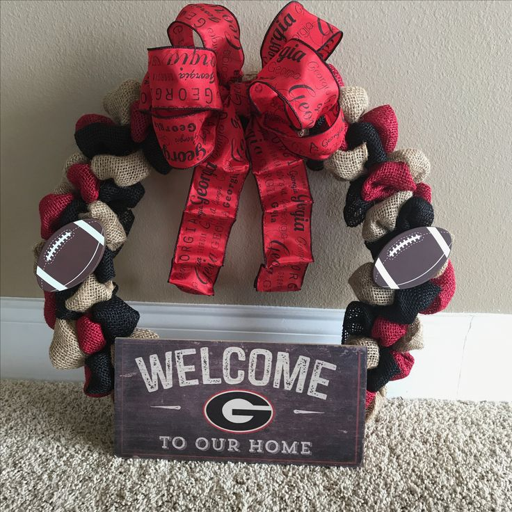 Georgia Bulldogs wreath made with black, red and natural colored burlap