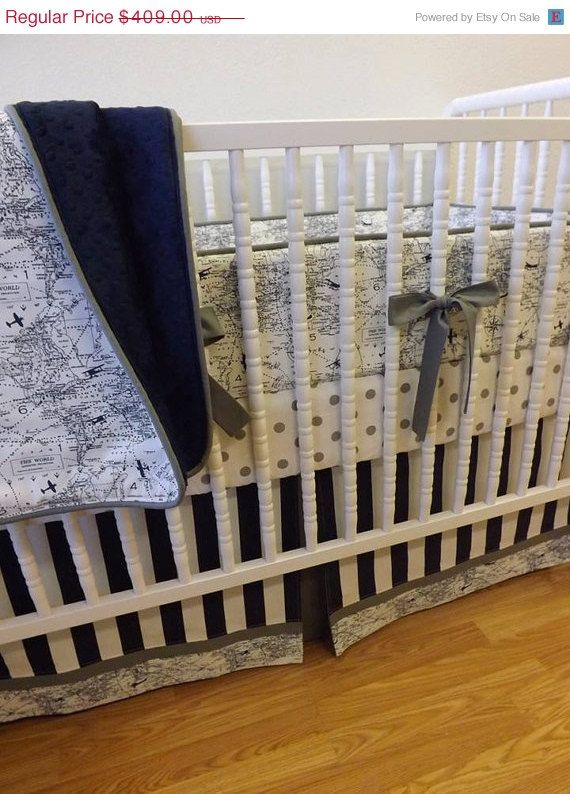 Aviation crib bedding boy airplane baby bedding made to order 4 piece aviation bedding boy - Airplane crib bedding sets ...