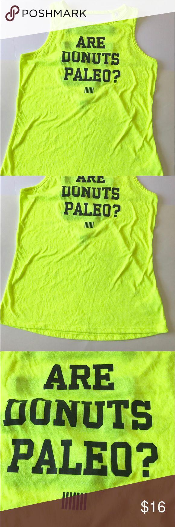 VSX are donuts paleo? Tank top M Victoria secret neon yellow top . Size medium Victoria's Secret Tops Tank Tops
