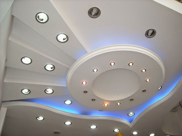 creative false ceiling lights in gypsum board design for small living room