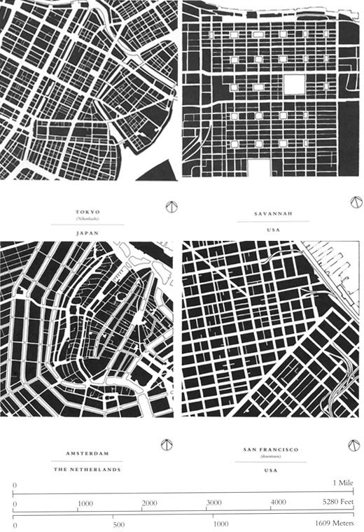 Allan Jacobs' seminal treatise Great Streets (1993) takes figure-ground analysis to a new level, showing 50 one-mile-square maps of cities around the world, all drawn to the same scale. from Grand Reductions: 10 Diagrams That Changed City Planning at SPUR