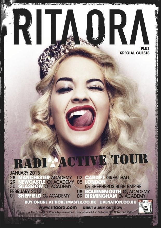 Rita Ora. Radioactive tour. Repin if you're going! http://www.livenation.co.uk/artist/rita-ora-tickets?c=fb_ext_rita-ora_280812 #RitaOra #Ritabots