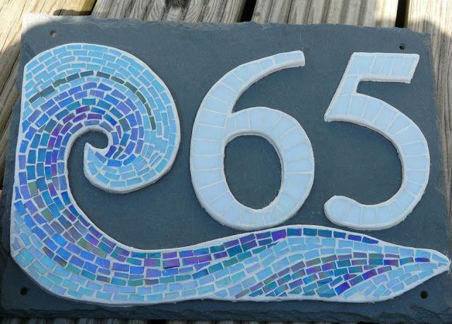 Coastal house numbers. Eco-Coastal Mosaics.