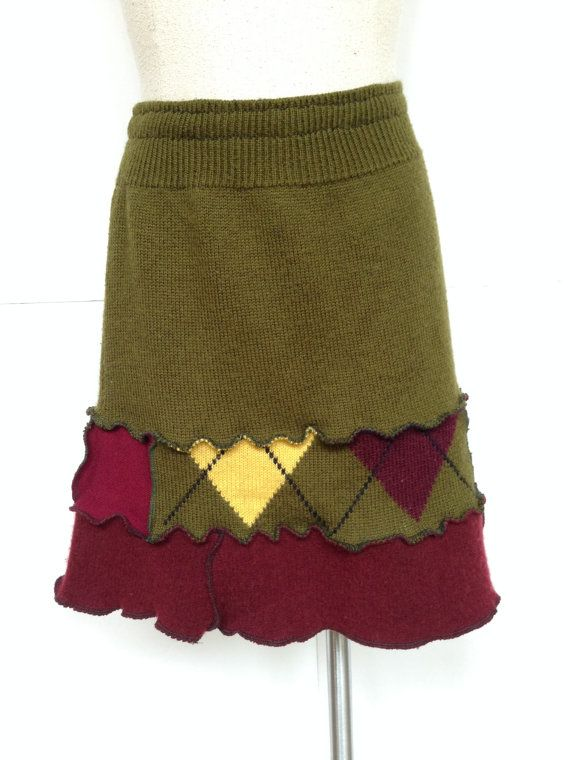Recycled Repurposed Wool Sweater Skirt Small by danamurphydesigns, $39.00