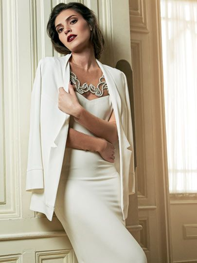 Aslı Enver (Turkish actress) in white dress, white jacket with night make-up. Dinner style.