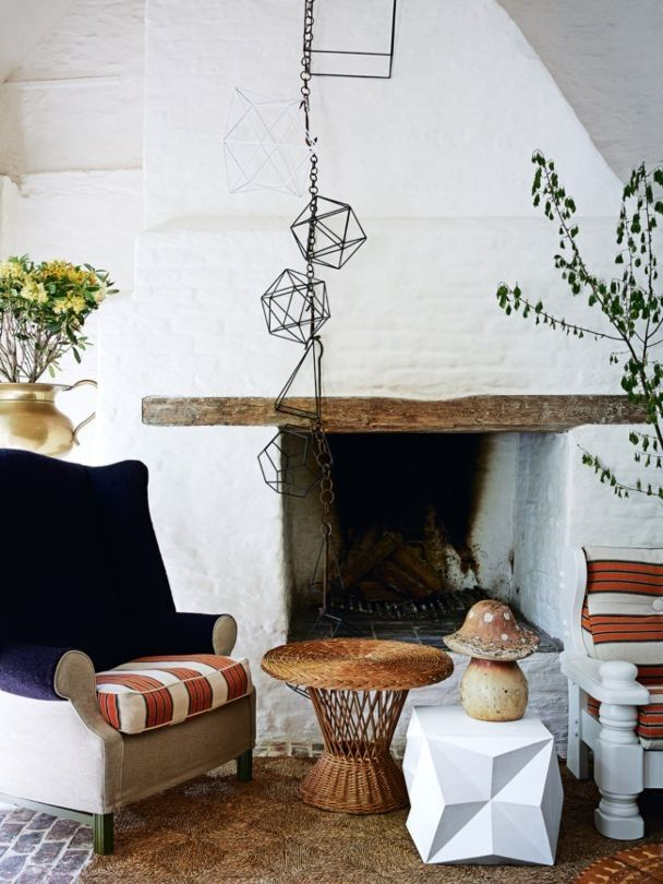 Fireplace Inspiration From The Vogue Living Archives   Vogue Living   Painted Bricks And Exposed Weathered Timber Adds To The Homely Feel Of  This Space.