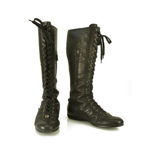 Gucci Guccissima black embossed leather knee high flat boots Shoes sz 38