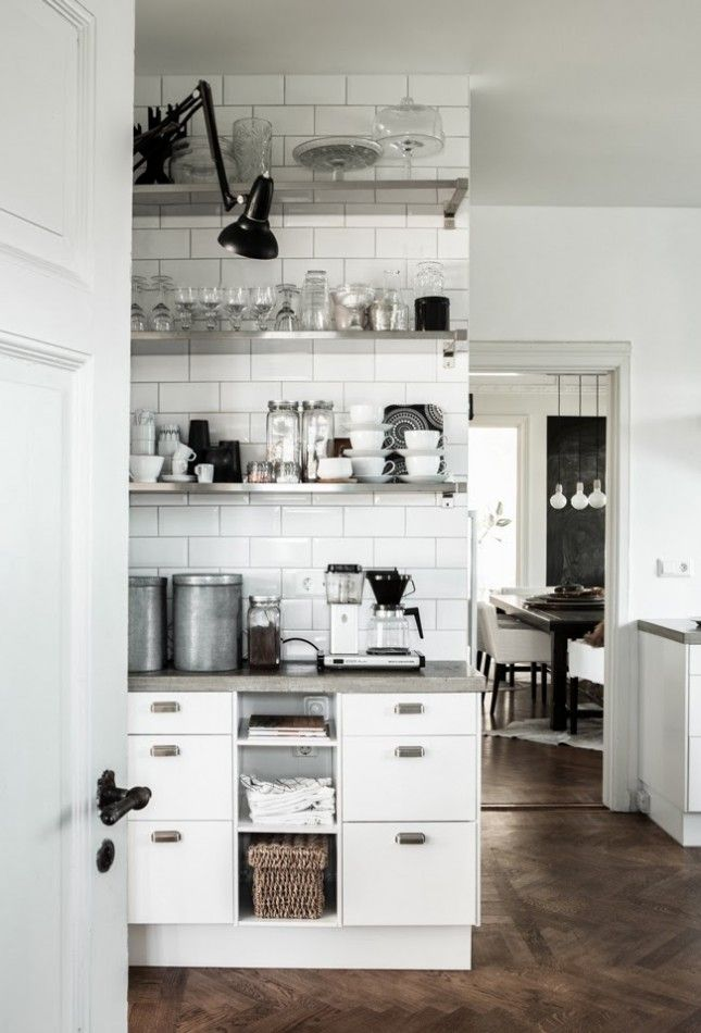 Loving this chic little coffee nook with monochromatic dishware.