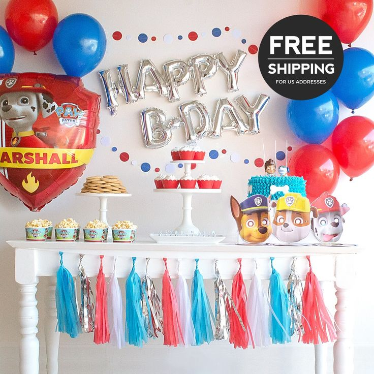 Paw Patrol Party Supplies and Decoration Ideas. Complete Paw Patrol birthday party theme including Paw Patrol balloons & optional masks. by BASHKITS on Etsy https://www.etsy.com/listing/482271338/paw-patrol-party-supplies-and-decoration