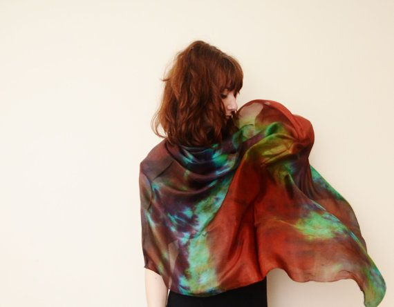 pure silk long  scarf any colour made to order by Memzwear on Etsy, £40.00