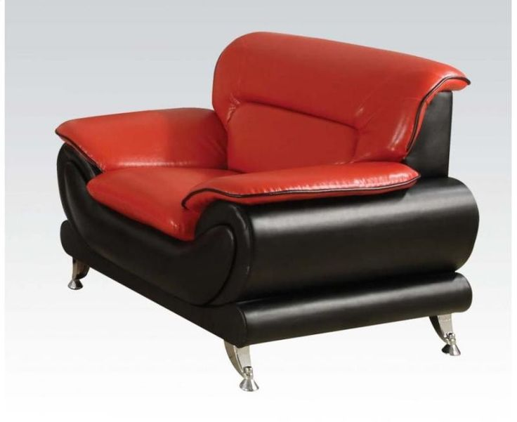 Charming Acme Oral Red Leather Chair 50712