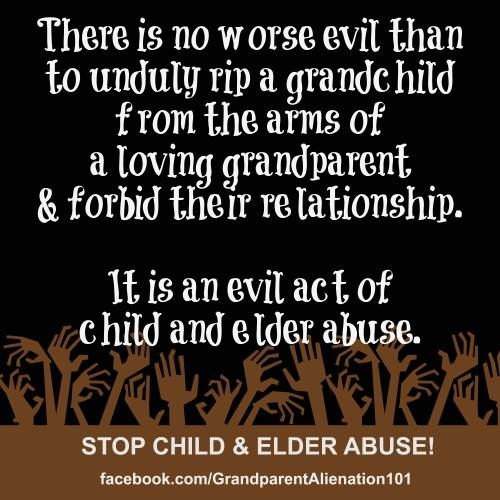 Hmm. The more I research the more I'm learning about alienation, grandparents rights and abuse. Lots of good information.