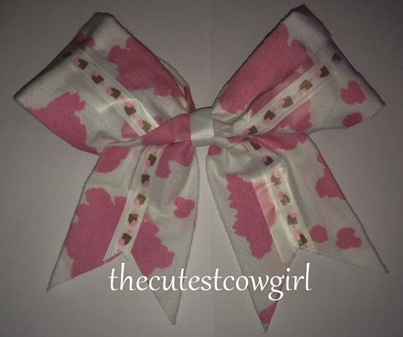 Cheer / Pageant bow Girls Toddler White Pink by TheCutestCowgirl