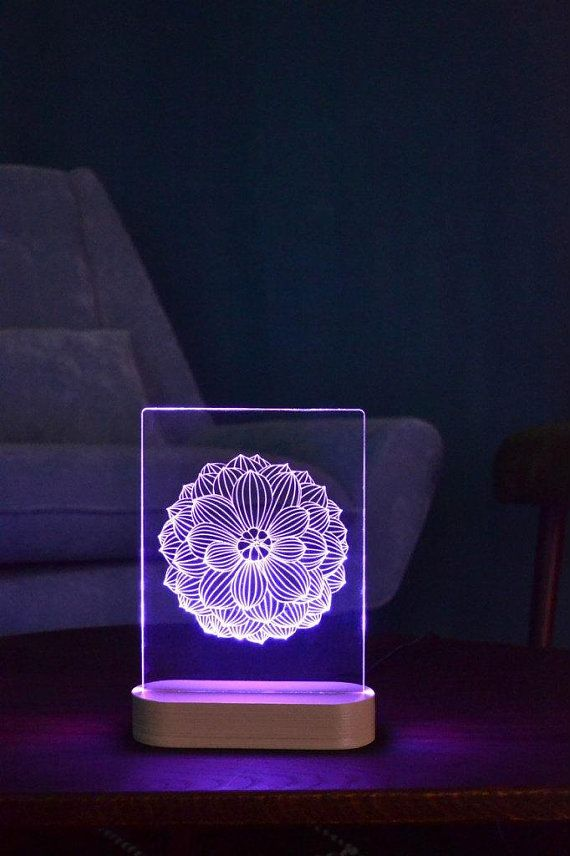 Lotus Mandala Acrylic 3d Led Table Lamp Bedroom Night Light