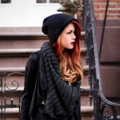 Edgy hair colors! Ombré red and blond. Love her style.