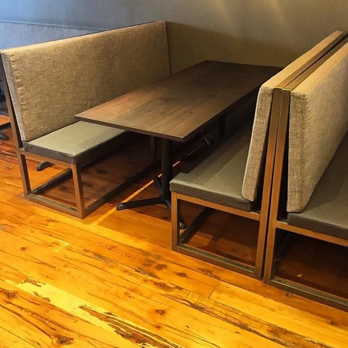 """This project was for """"Eastbound brewing"""" in Toronto  We outfitted this restaurant with walnut table tops and beautiful upholstered steel benches.   For your commercial projects visit www.jeffmackdesigns.com"""