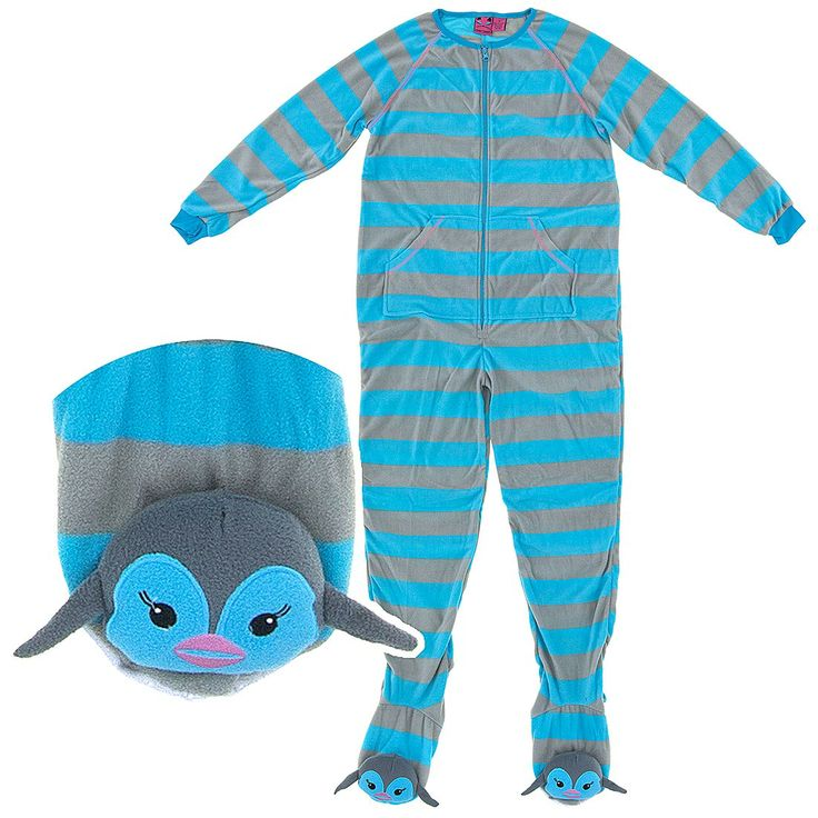 """These blue and grey penguin footed pajamas are an amazingly """"cool"""" way to go to bed at night.  Complete with a penguin night cap and penguins on the feet of these footed pajamas for women, you'll love showing them off."""