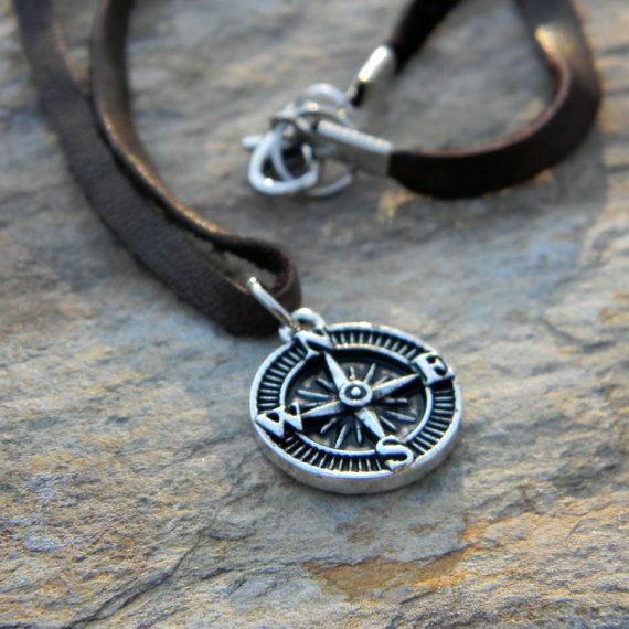 Just ordered for My Bo- Man's Graduation Gift. Going to put a really good quote with it too! Men's leather cord necklace simple rustic jewelry gift for him under 25 compass necklace graduation gift handmade nature inspired jewelry on Etsy, $24.00