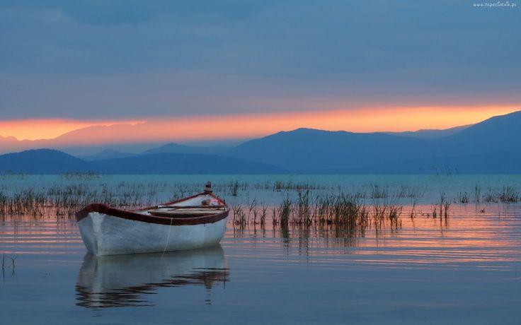 Jezioro, Góry, Łódka, Trawy, Wschód, Słońca