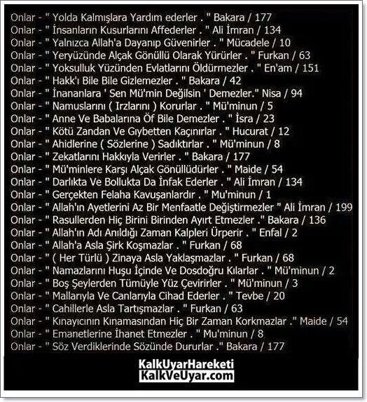 Kuranda Müminleri tarif eden 'Onlar' la başlayan ayetler.
