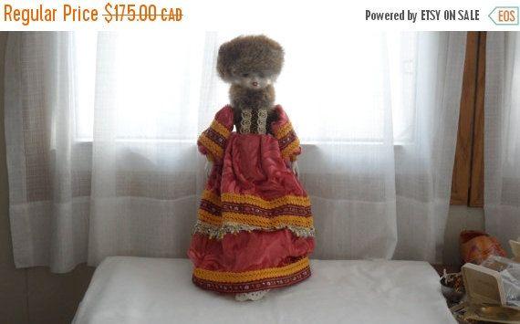 "DISCOUNTED VINTAGE 17"" RUSSIAN Costumed/Hand Painted Face n Porcelain hands n feetDoll/Real Rabbit Hat n Neck Cover/Crushed Velvet  embellis"