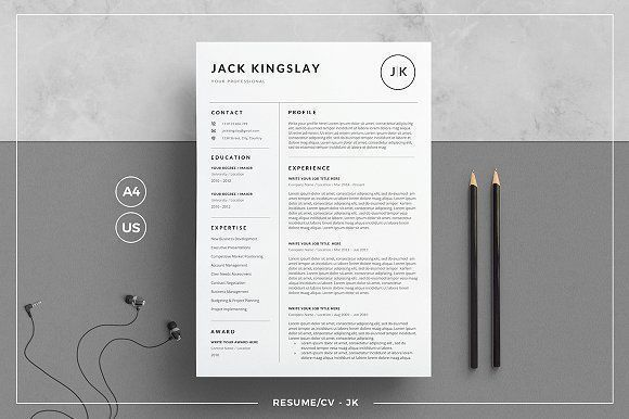 Resume/CV - JK by tnsdesign on @creativemarket Professional printable resume / cv cover letter template examples creative design and great covers, perfect in modern and stylish corporate business design. Modern, simple, clean, minimal and feminine style. Ready to print us letter and a4 layout inspiration to grab some ideas. In psd, indd, docs, ms word file format. #resume #cv #template #professional #word #modern #creative #design