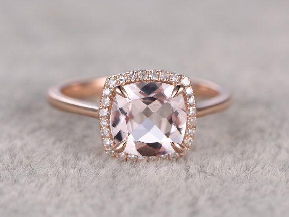 8x8mm Morganit Engagement ring Rose gold, Diamond Halo, Plain gold Eheringe, 14k, Kissen Cut, Edelstein Promise Bridal Ring Claw Zinken