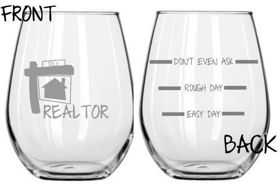 Realtor Glass Choose From Stemless WIne Wine by WulfCreekDesigns                                                                                                                                                                                 More