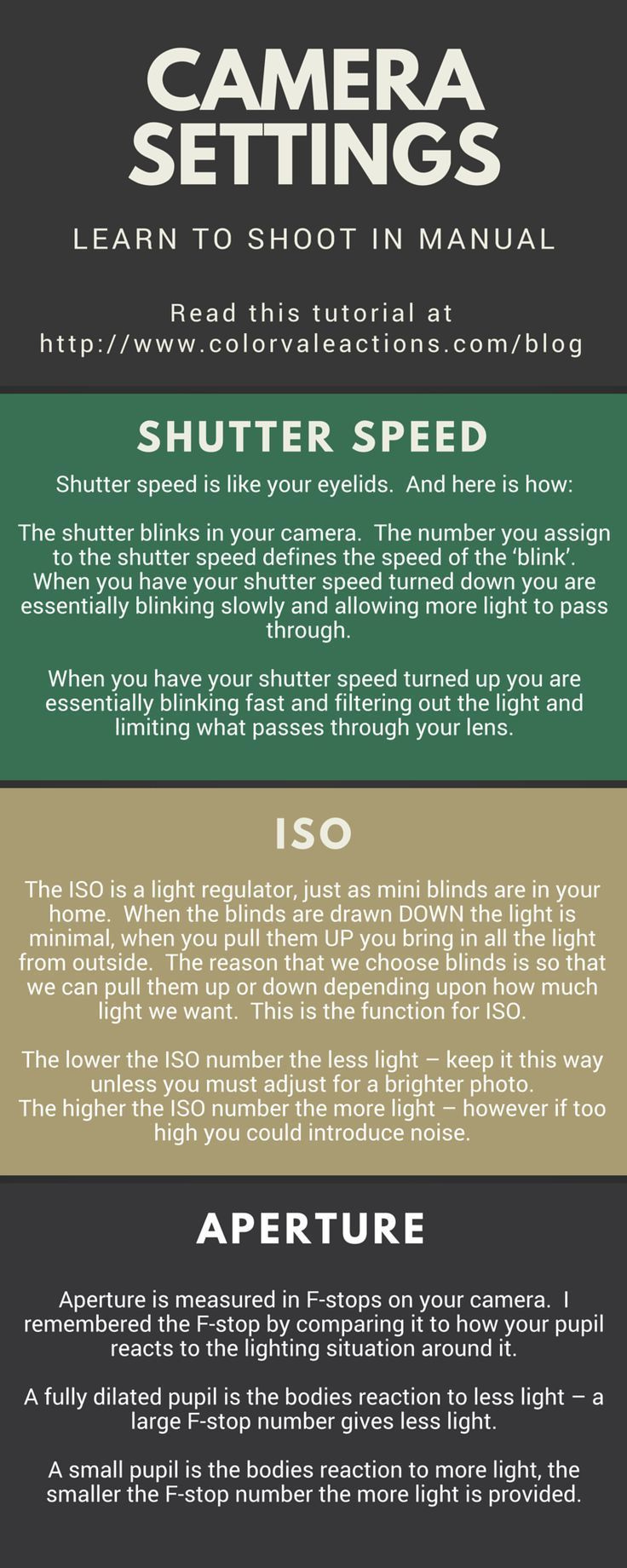 Shutter Speed, ISO, Aperture ... To be comfortable shooting manual you will need to know what your necessary adjustments are. Photography tips. Nordic360.