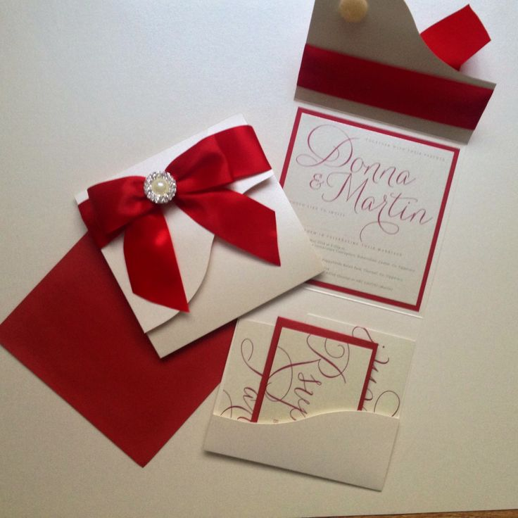weddig invite in red and ivory pocketfold