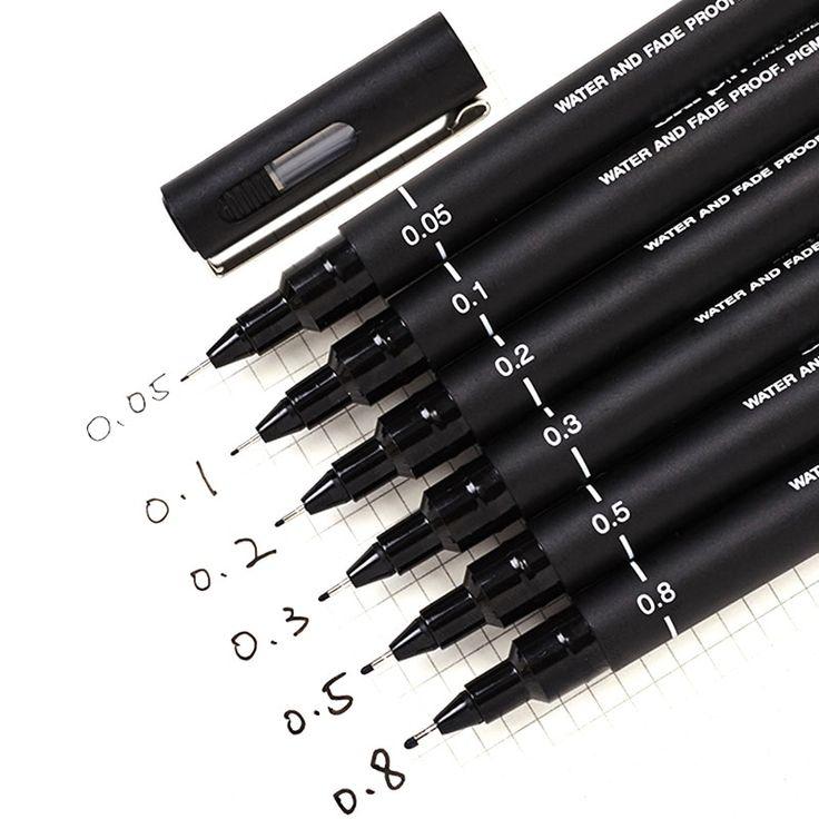 6pcslot pin drawing pen fineliner ultra fine line art