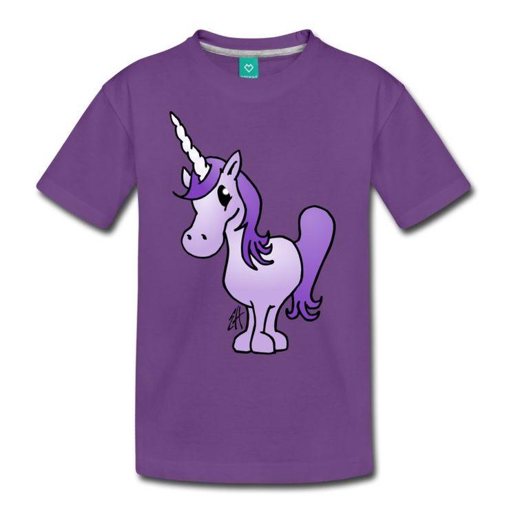 Purple unicorn kids' T-shirt. #unicorn #purple #Spreadshirt #Tshirt #Cardvibes #Tekenaartje #SOLD